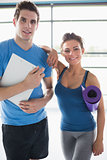Trainer and smiling woman