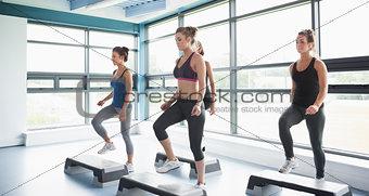 Group of women doing aerobics
