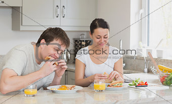 Two friends having lunch together