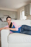 Relaxing woman in the living room