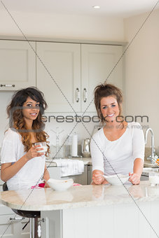 Friends having breakfast together