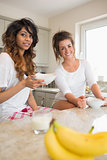 Two women having breakfast