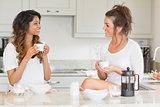 Friends having coffee at breakfast