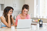 Smiling women looking at laptop and having coffee