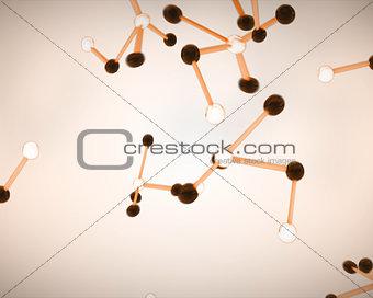 Black, white and orange molecule cells