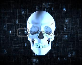 Blue human skull