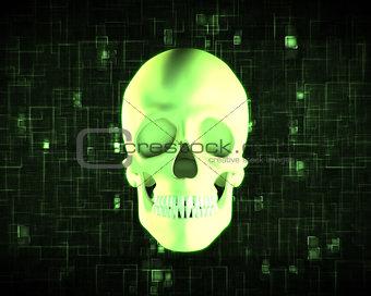 Green human skull
