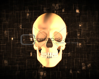 Orange human skull