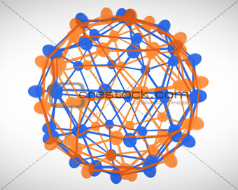 Orange and blue cells connection