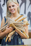 Woman holding hangers