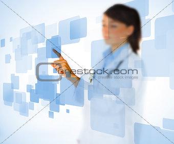 Nurse touching on touchscreen