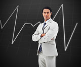 Man standing in front of a statistic graph