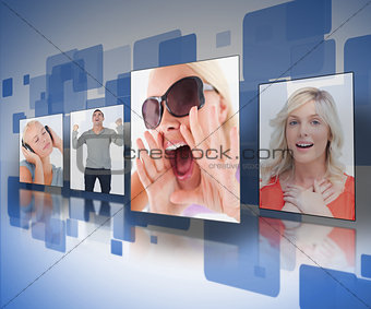 Four photos displayed on digital wall