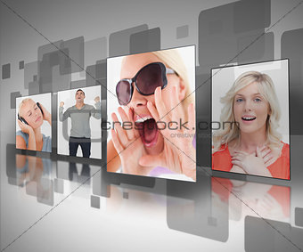 Photos displayed on digital wall
