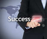 Woman touching  the success button