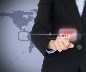 Woman touching on the red button