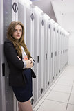 Girl standing in data storage facility
