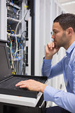 Man doing maintenance of servers
