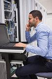 Man repairing the servers