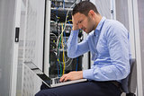 Technician becoming stressed over servers