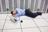 Man sleeping in data center