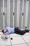 Man napping in data center