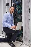 Man doing maintenance at the data store