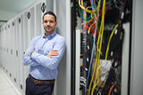 Man leaning against server locker