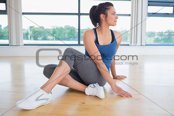 Woman concentrating on  yoga pose