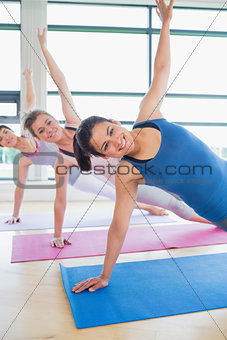 Happy women at yoga class