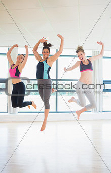 Women jumping at the gym