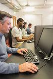 Man in computer class