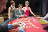 Man has good hand at poker game