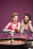 Women winning on roulette table