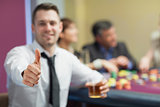 Thumbs up at roulette table