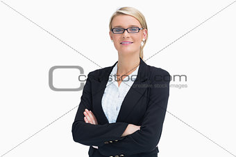 Blonde woman with arms crossed