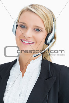 Blonde woman working in call centre