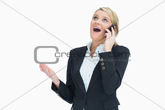 Woman surprised on phone