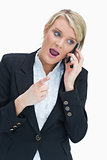 Woman on the phone having heated discussion