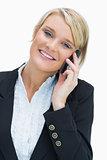 Smiling blonde calling