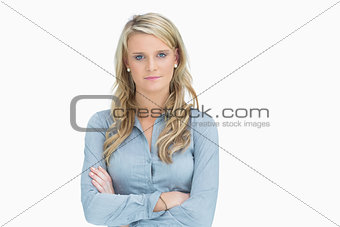 Blonde with arms crossed