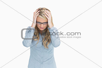 Woman looking troubled