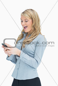 Woman being cheerful about message