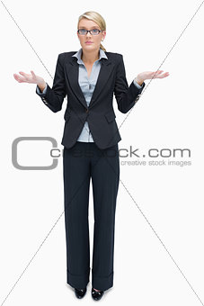 Business woman giving I don't know gesture