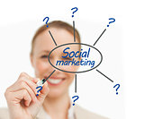 Woman drawing line from social marketing brainstorm