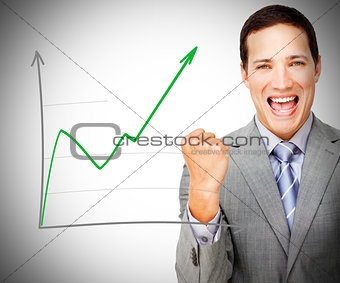 Businessman celebrating behind increasing graph