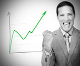 Man happy with graph