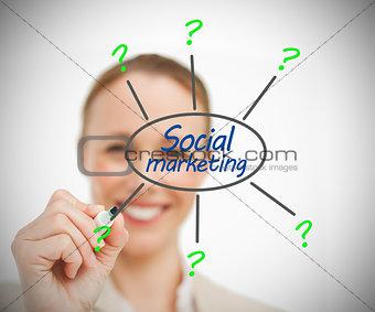 Woman drawing social marketing brain storm