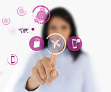 Woman selecting airplane symbol from interface
