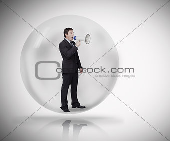 Business man standing in a bubble